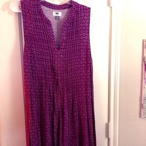Purple Pintuck Sleeveless Swing Dress